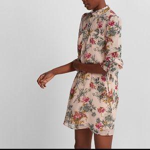 EXPRESS FLORAL CHIFFON HIGH NECK SHIFT DRESS